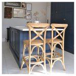 Harrington Wooden Bar Stool with Back Rest, Natural Rattan Seat, Black 66cm