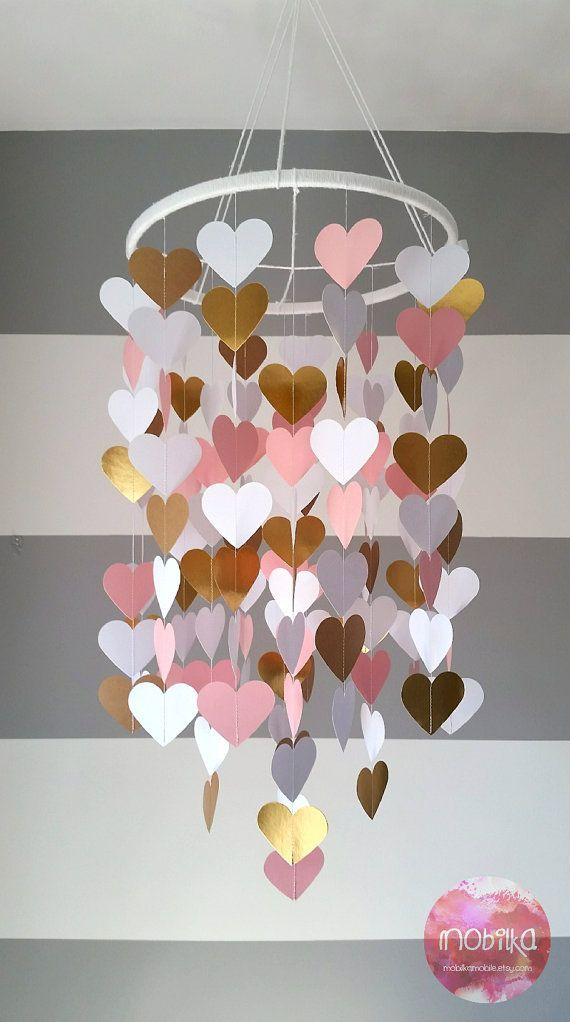 Heart shape paper mobile. Pink,white and gold. Baby room decoration. Wedding dec…