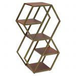 Hexagon Small Bookshelf by Drew Barrymore Flower Home Brass / Walnut