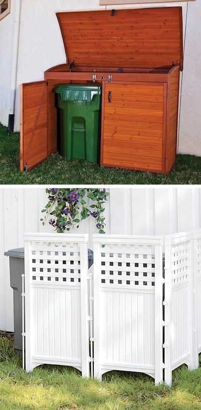 Hide your unsightly trash cans behind lattice, or build/buy a storage shed for t…
