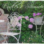 Hinter dem Eisenstuhl seht ihr meine Hortensie Endless Summer im Topf (wird duch den Storchschnabel verdeckt),die ich im Keller ?berwintert habe. Sie hat sich schneller entwickelt als die im Garten eingepflanzten Hortensien. Einen sch?nen Fronleichnamstag w?nsche ich Euch.