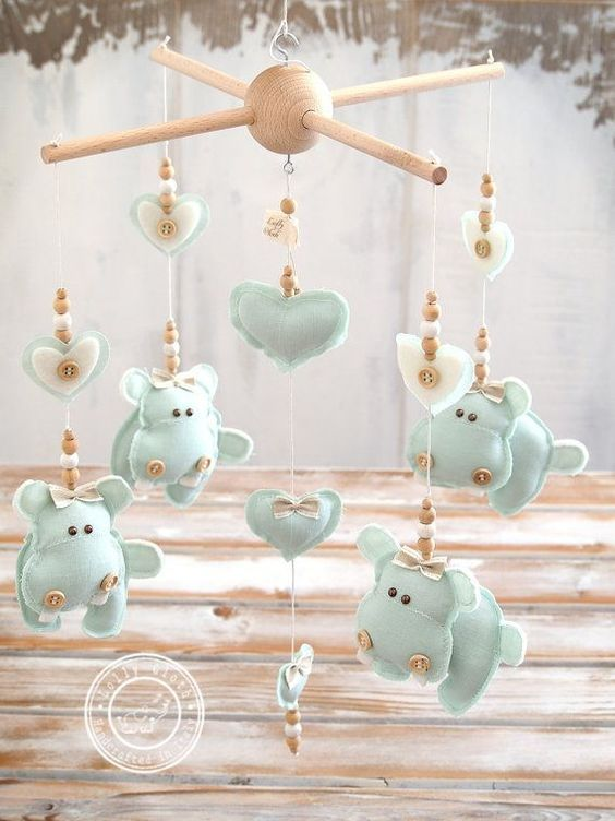 Hippo Baby Nursery Mobile, Baby Mobile Hanging, Mint Green Nursery Decor, Mint Baby Mobile, Boy & Girl, Baby Room /2-DAY DELIVERY WORLDWIDE/