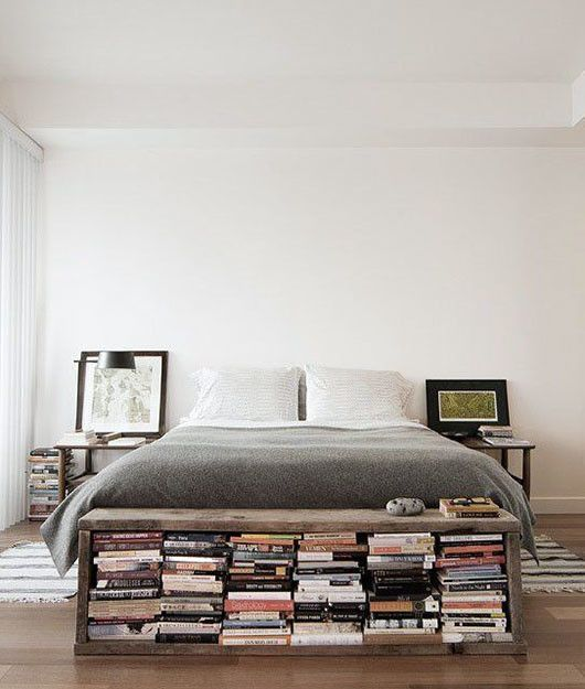 Home Decorating Ideas Bedroom We love this decorating idea: Try putting a small bookshelf bench at the end of …