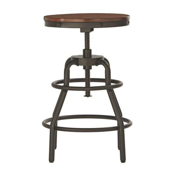 Home Decorators Collection Industrial Mansard Adjustable Height Black Bar Stool 0559400210 – The Home Depot
