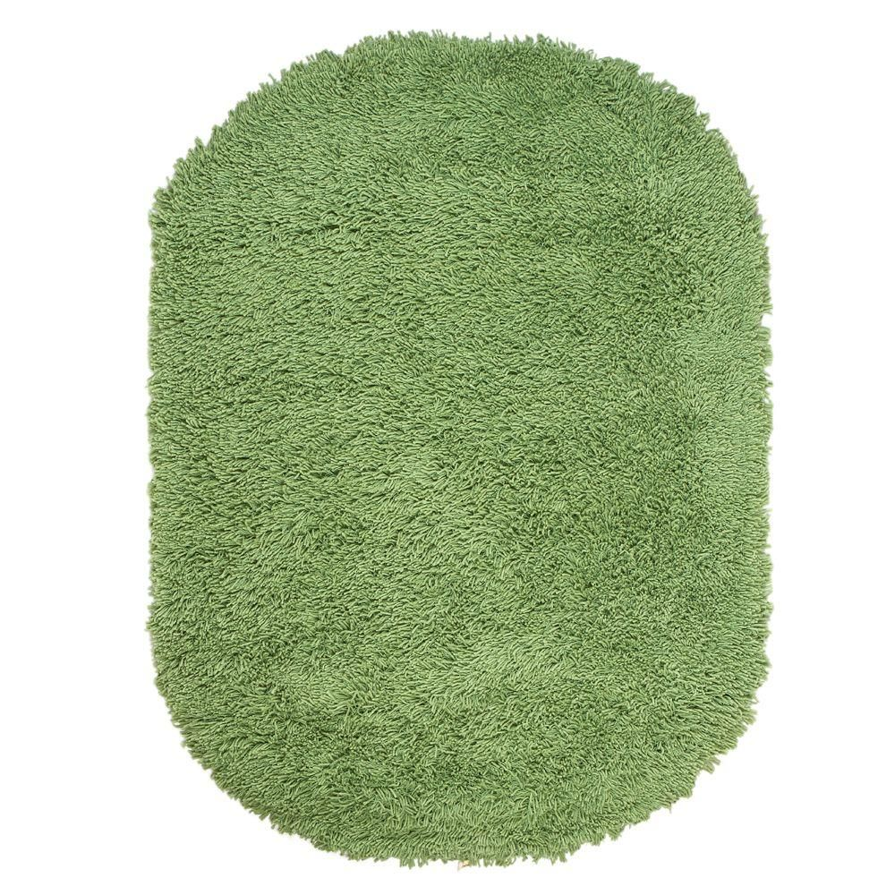 Home Decorators Collection Ultimate Shag Lime Green 5 ft. x 7 ft. Oval Area Rug-7575490620 – The Home Depot