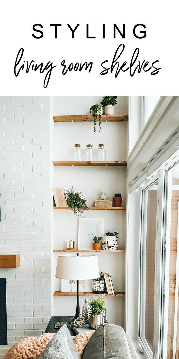 How to style living room shelves! Tips for shelf styling. Our Scandi-boho inspir…