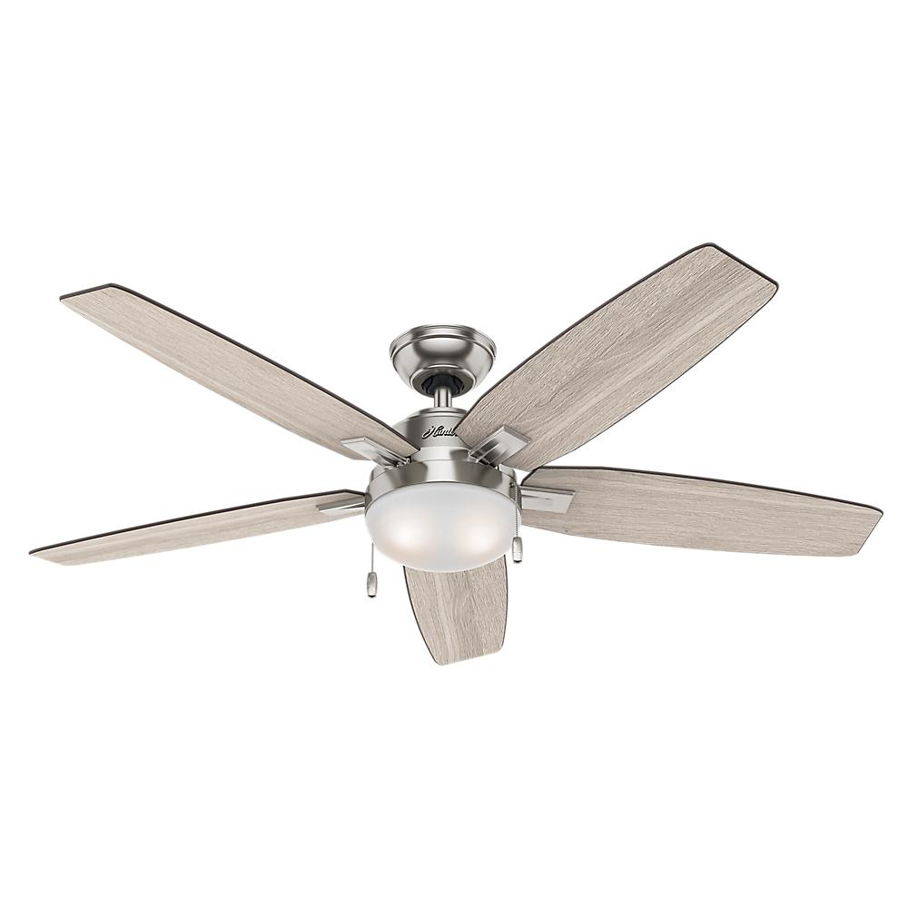 Hunter Antero 54 in. LED Indoor Brushed Nickel Ceiling Fan with Light-59183 – The Home Depot