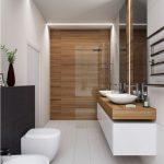 Idée thème en bois et carrelage blanc + évier #BadDesignPictures - bingefashion.com/interieur