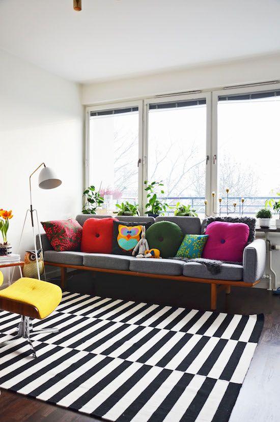 Ikea Stockholm | Area Rug | Black White Stripe