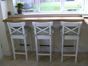 Ikea white bar stools with backrest -INGOLF x 3 NEW    eBay