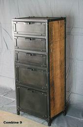 Industrielle zurückgefordert Holz Dessous Brust. Rustikale industrielle Stahl K…