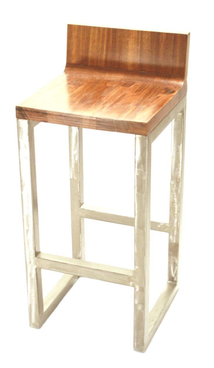 Industrieller Barhocker aus Holz und Metall – #aus #Barhocker #Holz #Industriell…
