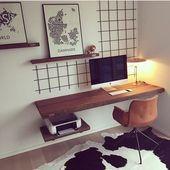 Inspiration für das Arbeitszimmer – Schreibtisch an Wand … – Inspiration für …