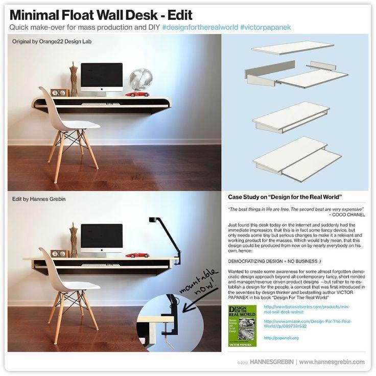 Interior Design Minimal Float Wand Schreibtisch Quick Make Over für die Massenproduktion oder…