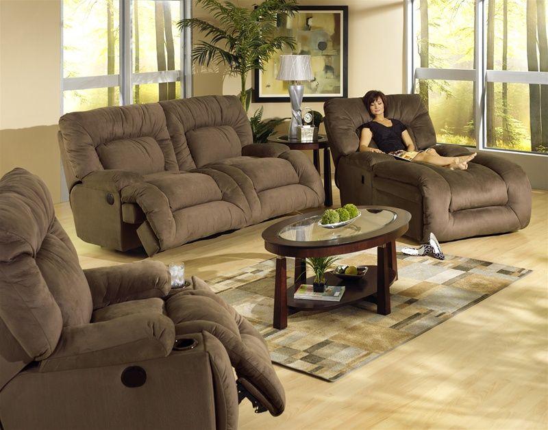 Jackpot 2 Piece Power Reclining Sofa Set in Coffee Microfiber Fabric by Catnapper – 6981-C-S