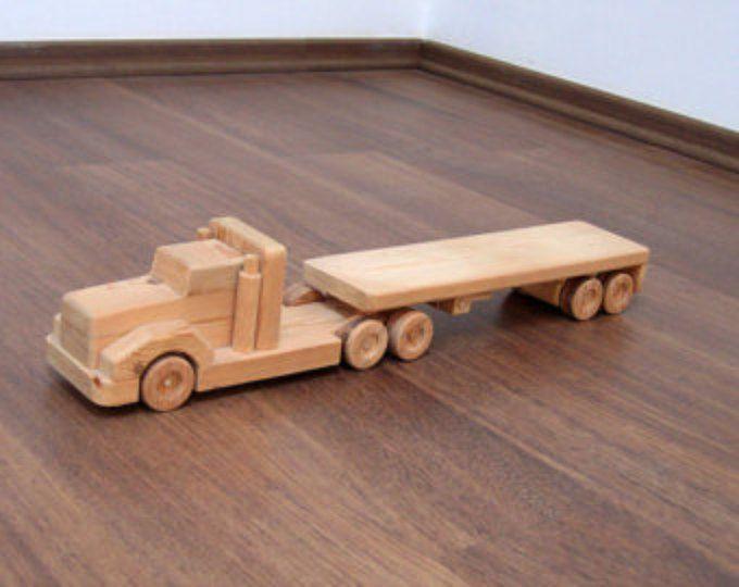 Jeffery el carro del refrigerador de juguete de madera – un semi-remolque de juguete de madera