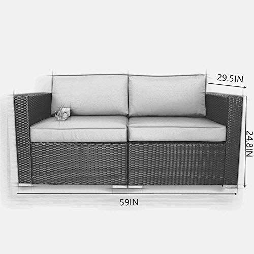 Jetime Patio Schwarz Couch Outdoor Korbsofa Set Garten Rattan Möbel Turquoi …