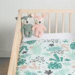 Jollein Leaves Baby Babybett Bettchen Babybettlaken Decke Babyzimmer Einrichtung Blättermuster grün