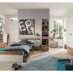Jugendzimmer in weiß mit Absetzungen in Plankeneiche-Nachbildung, 4-tl