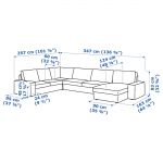 KIVIK Sectional, 5-seat corner - Hillared with chaise, Hillared beige - IKEA