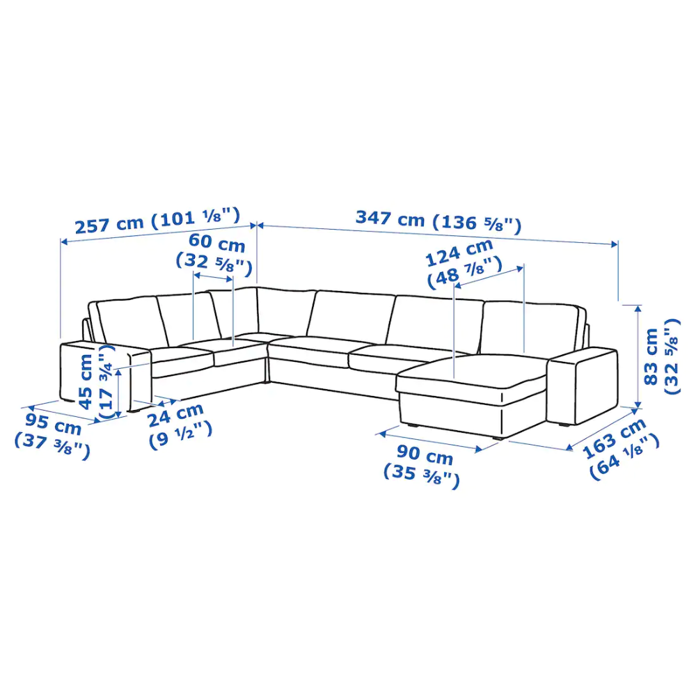 KIVIK Sectional, 5-seat corner – Hillared with chaise, Hillared beige – IKEA