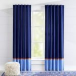 Kids Curtains: Kids Navy and Light Blue Curtains with Orange Trim | Crate and Barrel