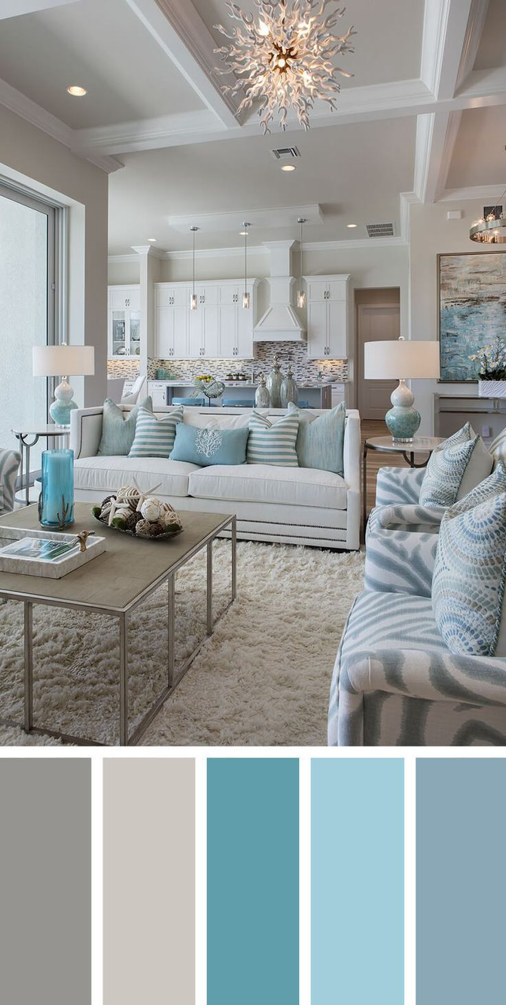 Kier here! Isn't this living room like a calming sea of blue? #livingroom #decor…