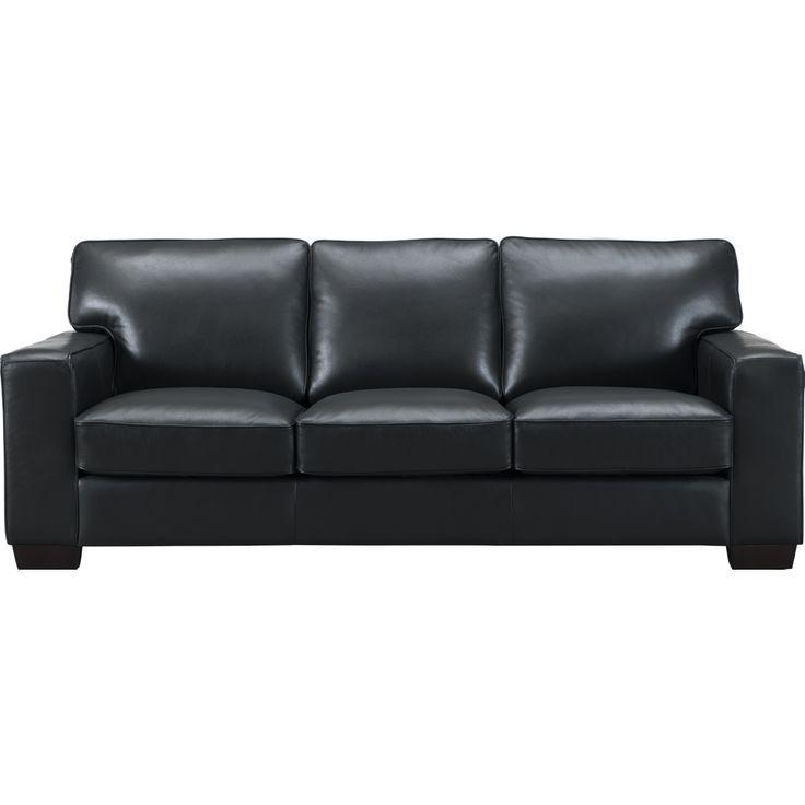Kimberlly Sofa aus schwarzem Narbenleder von Jane Leather Craft Furniture
