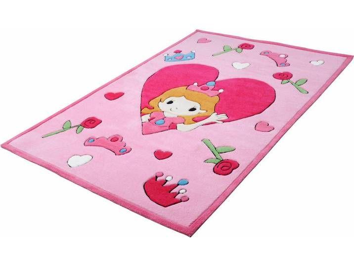 Kinder-Teppich , rosa, eckig, 120x180cm, »Rosen-Prinzessin«, THEKO