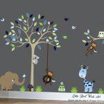 Kinder Wandabziehbilder tan tree wall deal vinyl decal Baum Wand Design-091