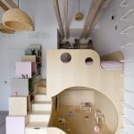 Kinderzimmer, Schlafzimmer-Zimmertyp, Etagenbetten, Bett, Regale, Abstellraum, A...