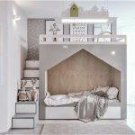 Kinderzimmer moderne graue weiße Bettkabine moderne Treppe mit Lagerung - bingefashion.com/dekor