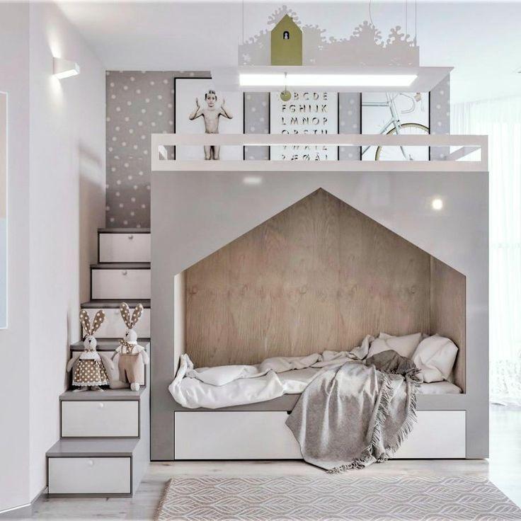Kinderzimmer moderne graue weiße Bettkabine moderne Treppe mit Lagerung – bingefashion.com/dekor