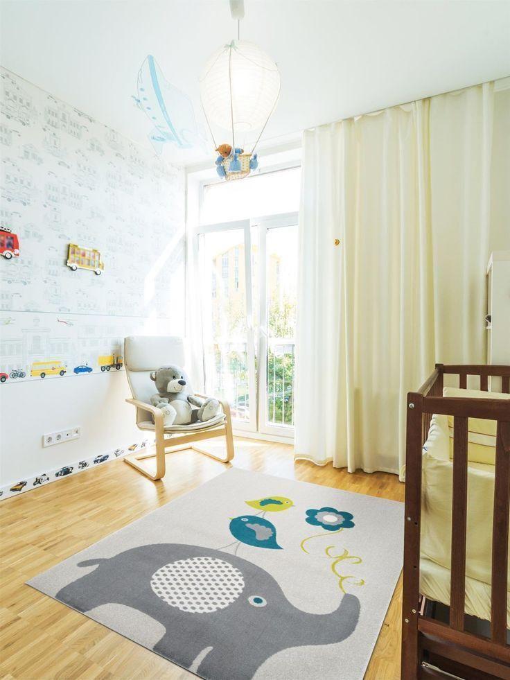 Kinderzimmer teppich, Kinder Teppich Modern Kinderzimmer Sterne Blumen von Kinde…
