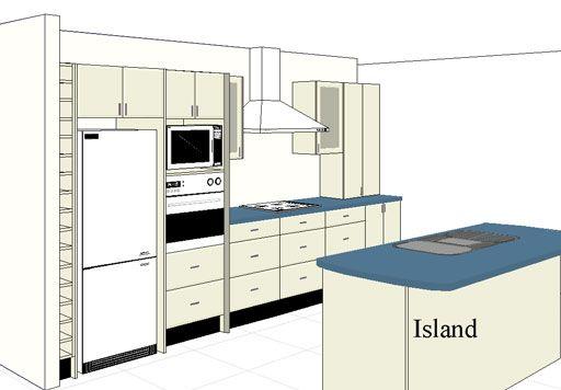 Kitchen Design Kuala Lumpur I-Shape Kitchen Layout with Island