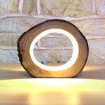 Kleine LED Log Light Tischlampe Schreibtischleuchte Echtholz Log Hollow Ungewöh...