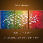Kunst Malerei Triptychon Original große abstrakte Malerei moderne Blumen Wand Dekor Regenbogen Farben... 24 x 54 .. Prism Garden