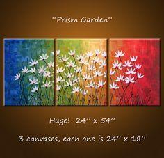 Kunst Malerei Triptychon Original große abstrakte Malerei moderne Blumen Wand Dekor Regenbogen Farben… 24 x 54 .. Prism Garden