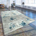 Kurzflor Wohnzimmer Teppich Used Look Abstrakt Gemälde Optik Grau Blau Teppiche Aktuelle Werbung