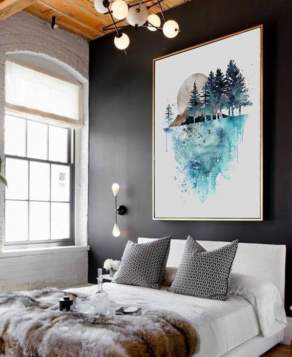 L'arbre nature Wall Art, peinture, copie de tableaux de paysage, aquarelle Art Print, peinture à l'aquarelle, Art de l'aquarelle, aquarelle Print(219)