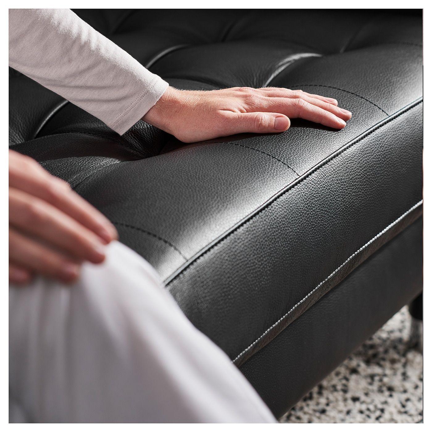 LANDSKRONA 4er-Sofa – mit Récamiere Grann, Bomstad Grann/Bomstad schwarz/Metall – IKEA