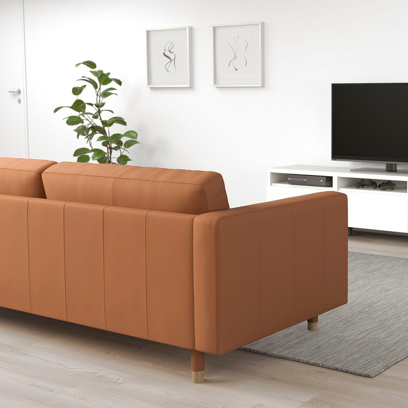 LANDSKRONA Sectional, 5-seat corner – Grann/Bomstad golden brown/wood – IKEA