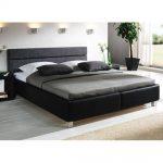 Lederbett mit Bettkasten - 140x210 cm - schwarz - Bett Sanremo - Polsterbett