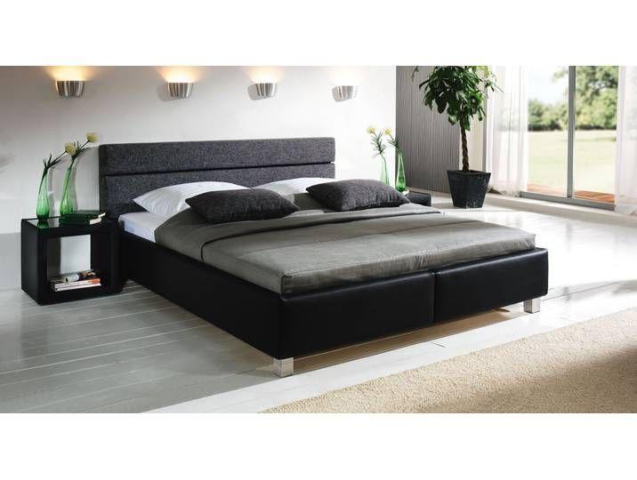 Lederbett mit Bettkasten – 140×210 cm – schwarz – Bett Sanremo – Polsterbett