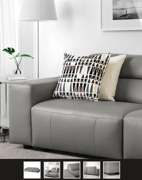 Ledersofas: SNOGGE 3er-Sofa, Grann graugrün