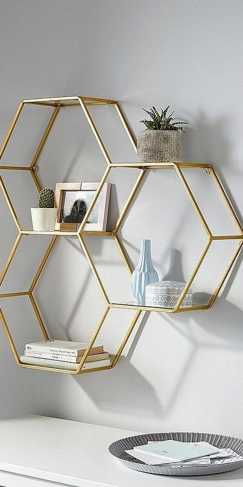 Leonique Wandregal aus Metall Goldene Wohnaccessoires sind ein echter Einrichtun… – Stephanie Bilder