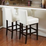 Lopez 30-inch Ivory Wood/Leather Bar Stools (Set of 2) by Christopher Knight Home (Ivory), White