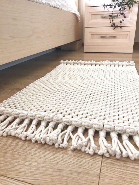 Macrame Rug/ Boho Placemat/ Cotton Rug/Bedside Rug/Rectangular Foot Rug/Bedroom Rug/ Bohemian inspired/Eco Decor/ Ready to ship