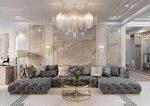Majestic Modern Luxury living room decor with restoration hardware soho sectiona...