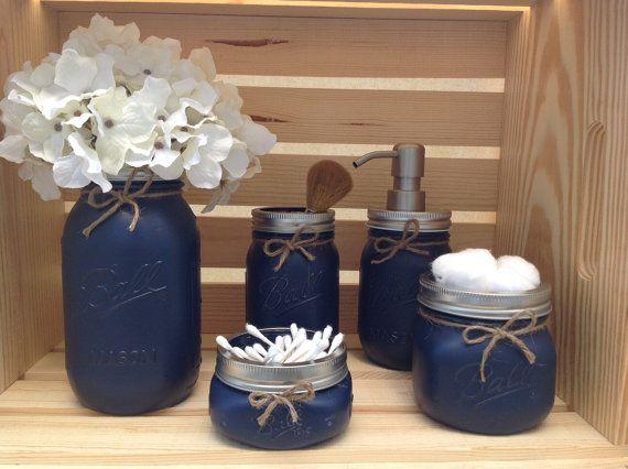 Mason Jar Bathroom Set, Mason Jar Decor, Bathroom Decor, Bridal Shower Gift, Soap Dispenser, Country Decor, Housewarming Gift, Rustic Bath
